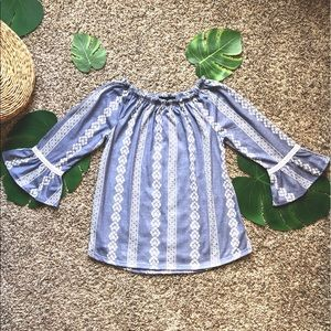 Blue Top with Ruffled Sleeves